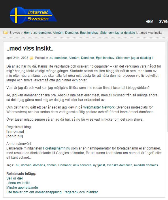 Första inlägget på internetsweden.se